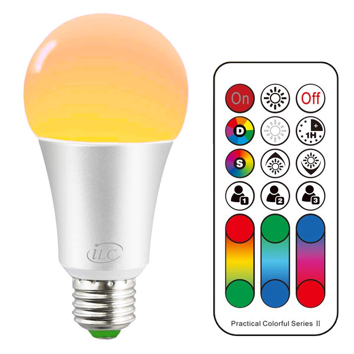 iLC Bombillas Colores RGBW Lá mpara LED Bombilla Regulable Cambio de Color Blanco Cá lido 2700K A60 Edison 10W Esfé rica E27 Casquillo Gordo - RGB 120 Colore - Control remoto Incluido - Equivalente de 60 Watt
