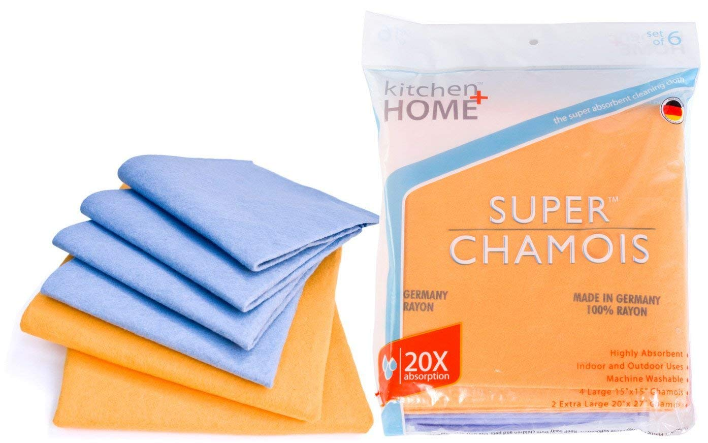 Super Chamois - Super Absorbent Shammy Cleaning Cloth Value 6 Pack - Holds 20x It's Weight In Liquid Kitchen + Home SC-121B