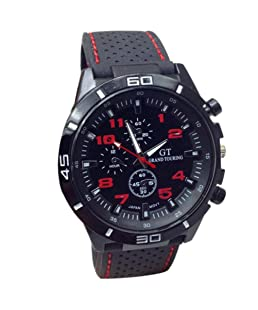 Auwer Watches,Men's Quartz Wristwatch, Quartz Watch Men Military Watches Sport Wristwatch Silicone Fashion Hours (Red)