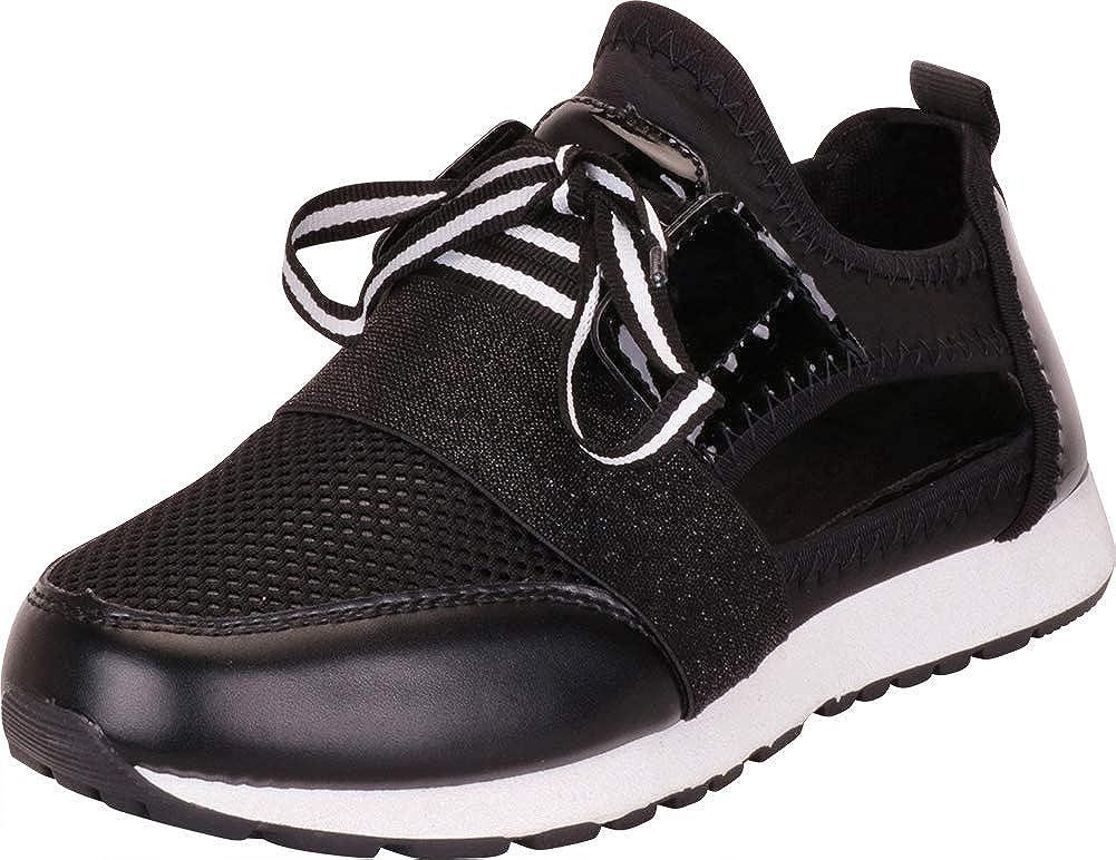 Black Cambridge Select Women's Lightweight Knit Mesh Lace-Up Casual Sport Fashion Sneaker
