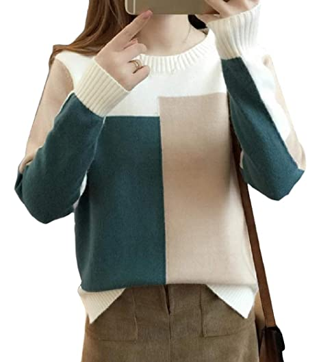 DressUWomen Long-Sleeve Stitch Contrast Knit Loose Lounge Sweater Pullover  Blackish Green OS 62e1bfd85