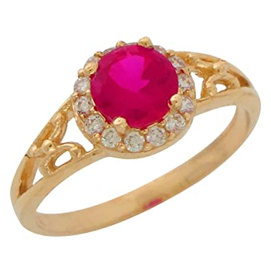 d5e49e15d8ee93 Image Unavailable. Image not available for. Color: 14k Yellow Gold Round  Simulated Ruby CZ Halo Ladies July Birthstone Ring