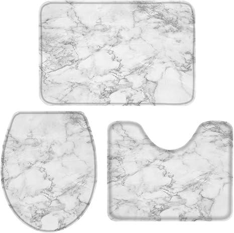 3pcs Pedestal Rug Black White Soft Toilet Mat Seat Cover Home Bathroom Mats Set
