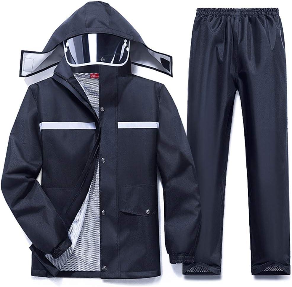 ZHANGGUOHUA La Lluvia del Impermeable Traje de Pantalones de Split Impermeable Hombres a Caballo Espesado a Prueba de Lluvia y al Aire Libre Impermeable del Poncho (Color : Black, Size : XXXL)