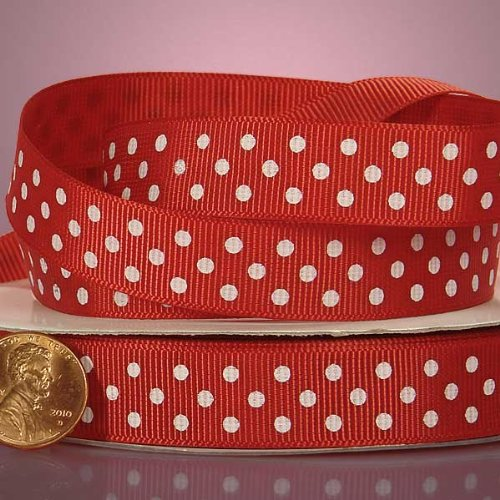 Red And White Polka Dots Grosgrain Ribbon, 3/8
