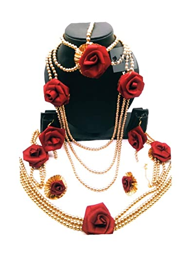 Buy Jui Pearls Golden Dark Red And White Plastic Rose Jasmine For