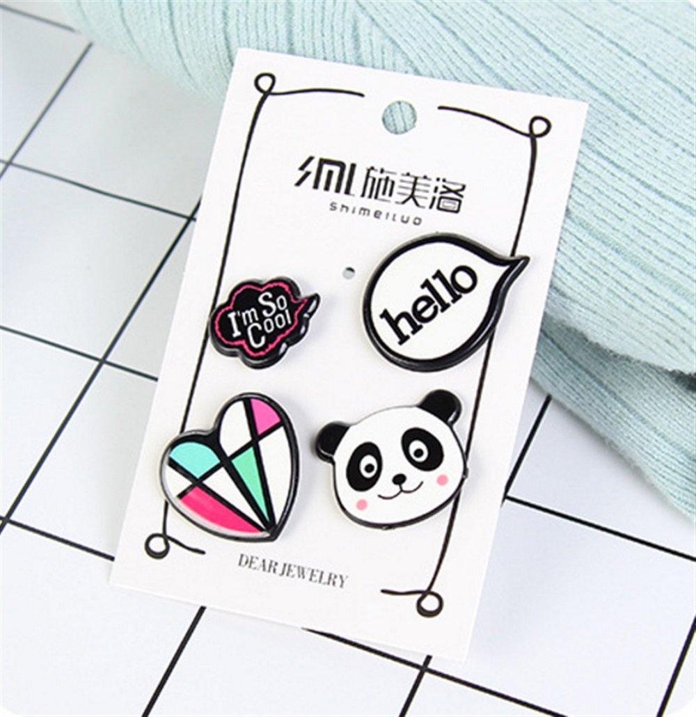 PrutX Cute Buttons Badges Gioielli da donna Distintivo pulsante distintivo distintivo cuore vintage Panda distintivo