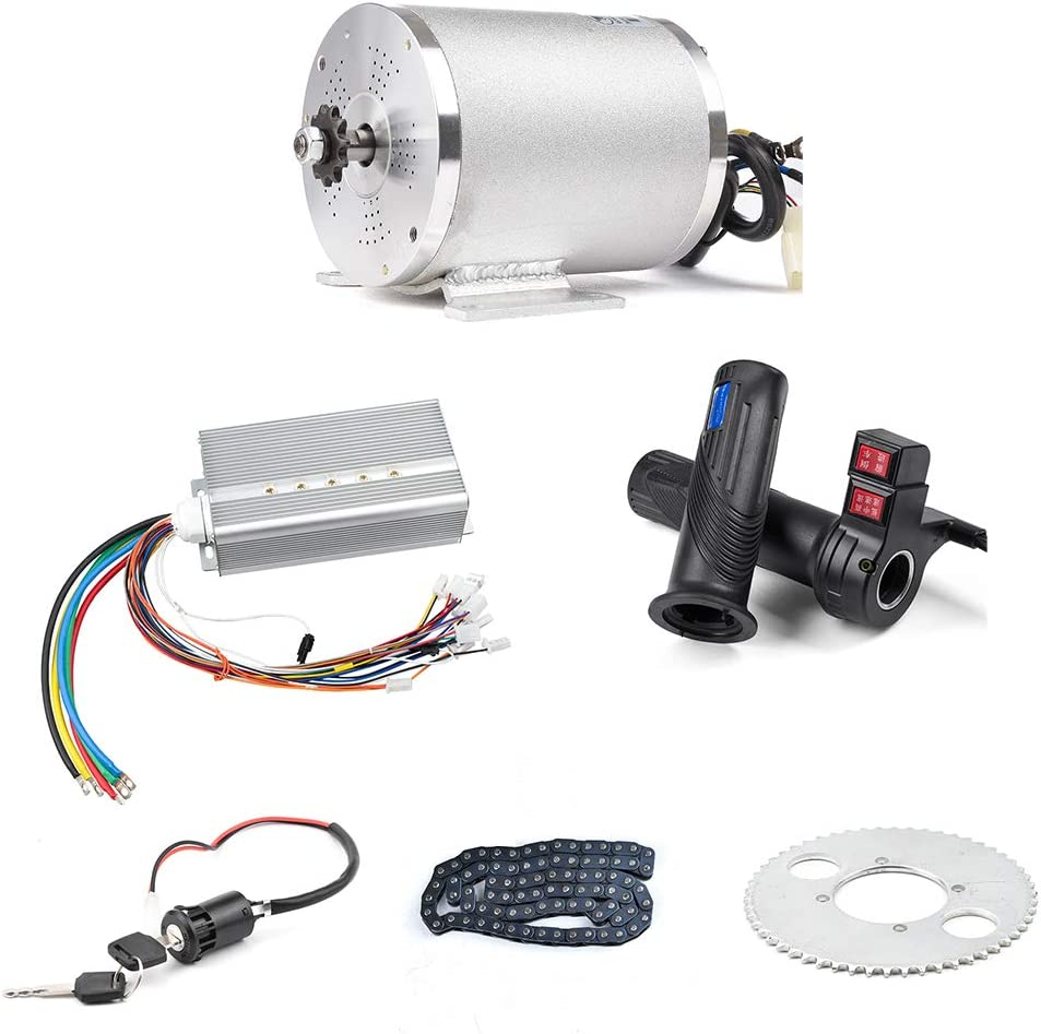 BLDC 72V 3000W Brushless Motor Kit with 24 Mosfet 50A Controller and Throttle for Electric Scooter E Bike Engine Motorcycle DIY Part Conversion Kit