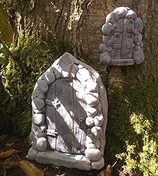 Puerta Hadas Fairy Door con ventana Troll Jardín Decoración Ruinas Muro Árboles de piedra: Amazon.es: Jardín