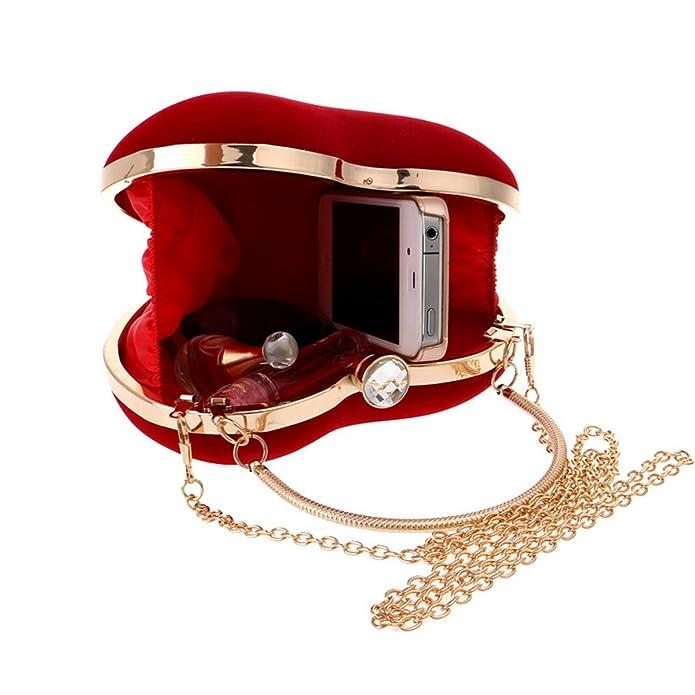 Amazon.com: Queena Women Fashion Heart Shaped Evening Bag Suede Handbag Clutch Party Bag Tote Purse Bag Black: Shoes