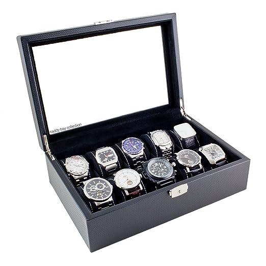 Amazon.com: Caja para relojes, de fibra de carbono con parte ...