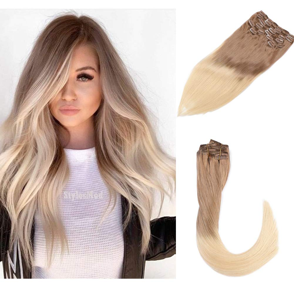 120g Thick Clip In Human Hair Extensions Silky Straight Thick Full Ends Double Weft Brazilian Hair 8pcs Ombre Color Golden Brown to Bleached Blonde Full Head Clip On Hair 16 Inch by Biena