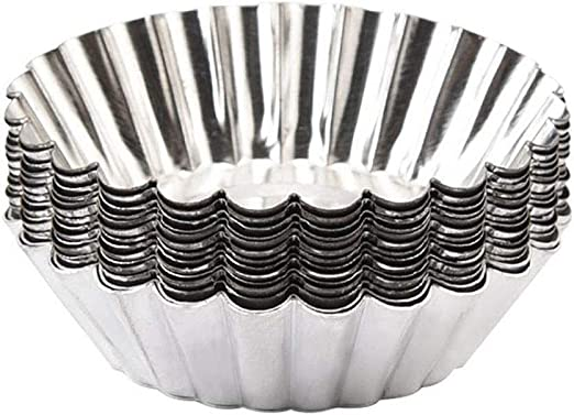 10 pcs Reusable Silver Stainless Steel Cupcake Mold Cookie Egg Tart Pudding MoNA