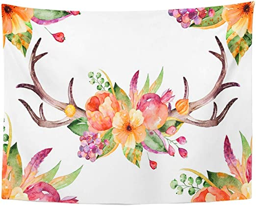 Amazon.com Emvency Wall Tapestry Colorful Floral Bouquet
