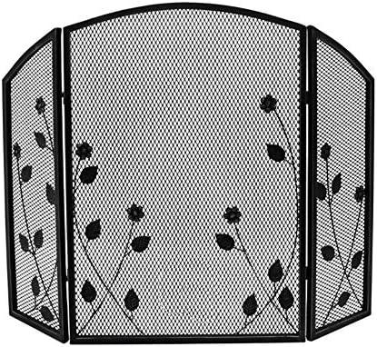 暖炉ガード ブラックメタルの暖炉スクリーンの葉のデザイン - 78センチメートルスタンド、火災ガードアーチ型の装飾がメッシュ3パネル錬鉄製折りたたみ (Color : Black)