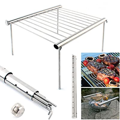 Hemengjuan Barbecue Bracket Portable Compact Camping Grill, Outdoor Backpackers Stainless Steel Tube Easy Collapse and Assembly Open Fire Charcoal Barbecue (Size : One Size): Garden & Outdoor