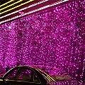 Solmore Window Curtain Light 3m*3m 300led Christmas Light Icicle Lights Festival Curtain String Fairy Wedding Led Lights for Wedding, Party, Window, Home Decorative Garden Decorative 110v Us Plug (Pink)