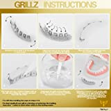 TSANLY Grillz Skull Fangs Silver Grills Iced Out CZ Diamond Top&Bottom Set Vampire Grill Hip Hop Grillz Gift for Halloween + 2 Extra Molding Bars