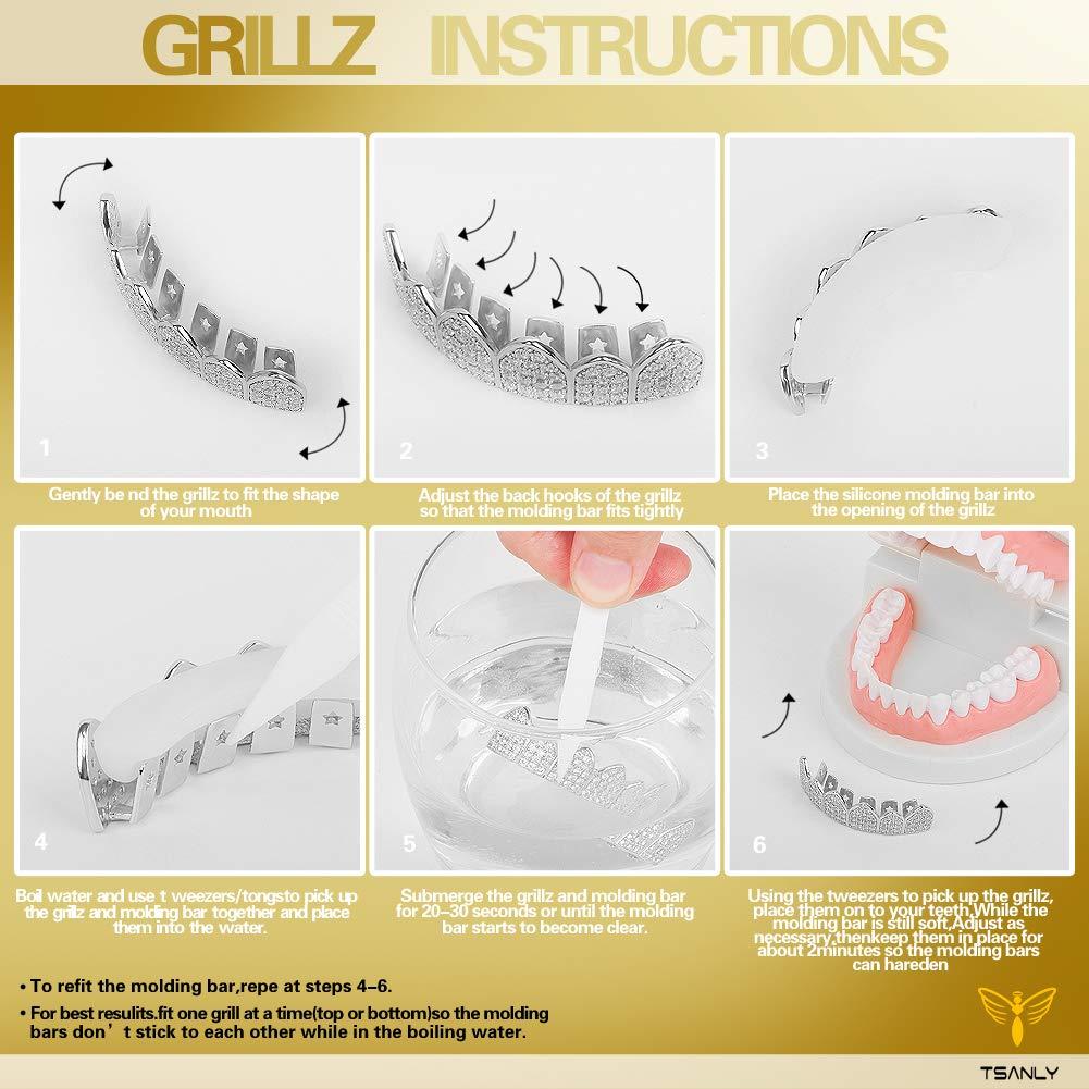TSANLY Grillz Oro Blanco de Diamantes ❤Rebajas❤ Baño de ...
