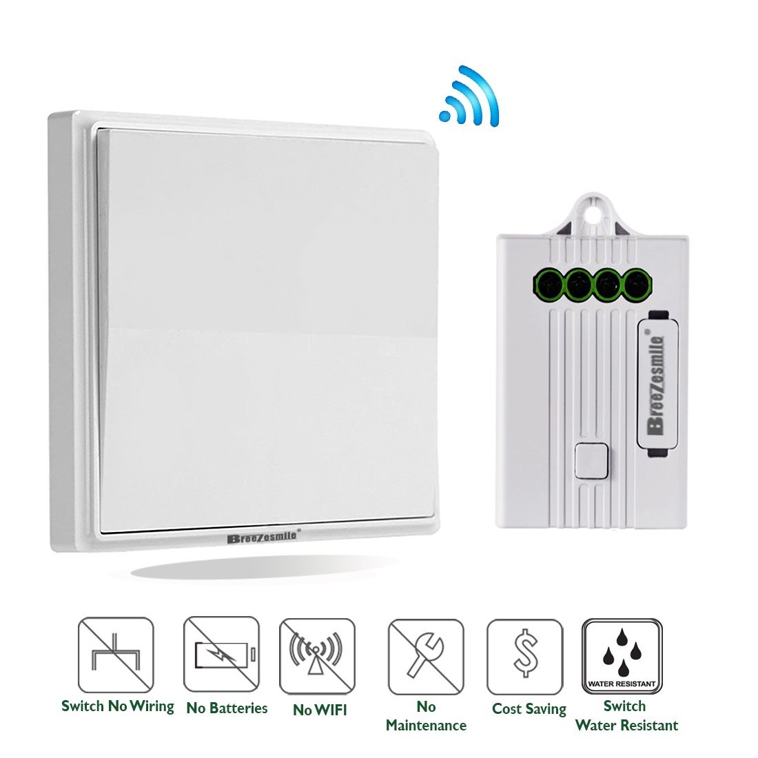 Wireless Light Switch Kit, No Wiring No Battery, Quick Add or ...