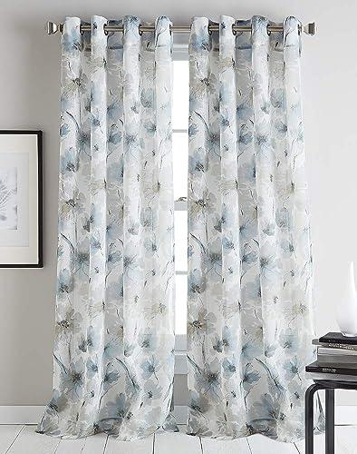 DKNY Modern Bloom Sheer Grommet Window Curtain Single Panel, 95 , Linen