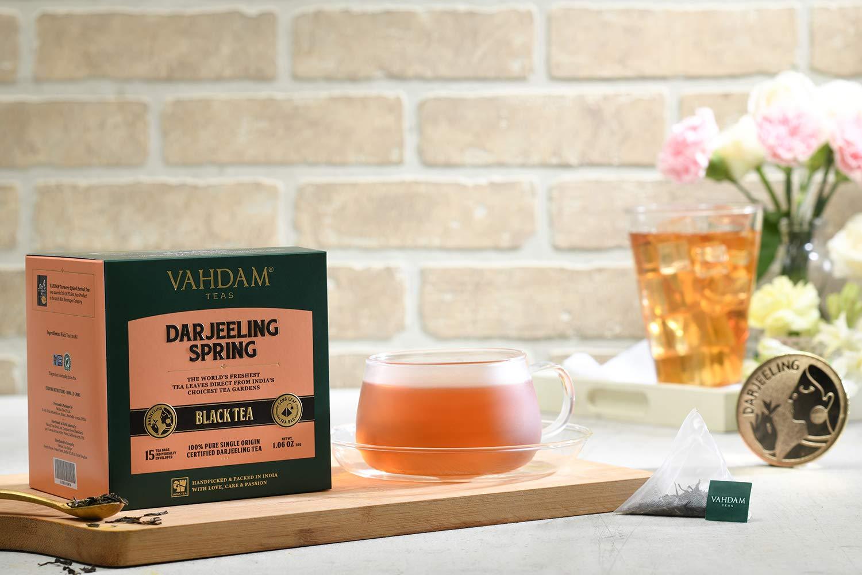 Hojas exóticas de té Darjeeling primero Flush, 15 bolsitas de té (PAQUETE DE 2), Bolsas de té Darjeeling pirámide de hoja larga, 100% de té puro sin mezcla ...