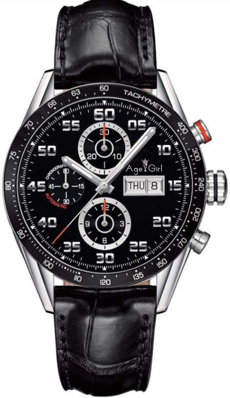 IWHSB Relojes de Pulsera automáticos de Marca Cuarzo Plateado Acero Inoxidable Calendario Día Fecha Hombres Relojes Cronógrafo Cronómetro Reloj Deportivo Casual Cuero Negro