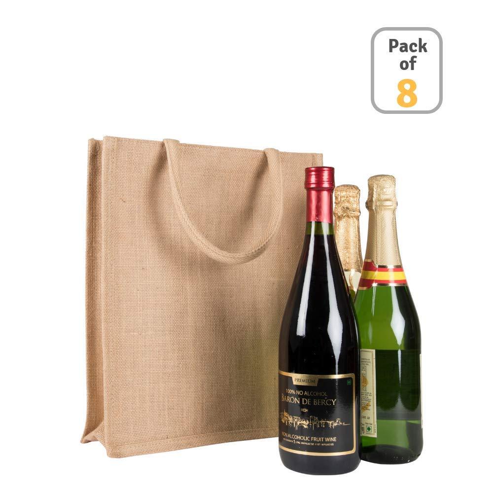 黄麻布ワイン トートバッグ ボトルホルダー 天然ジュート ワインバッグ(12×14×4) B07HFJ2CKL
