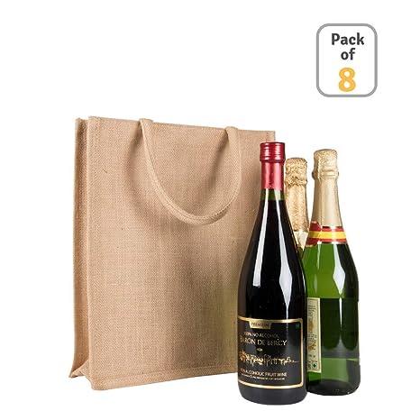 Amazon.com: (8 piezas) Bolsa de yute para botella de vino, 3 ...