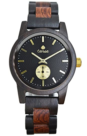 TENSE//La Madera Reloj – Mens Hampton fabricado en Canada Sándalo/Rose Madera