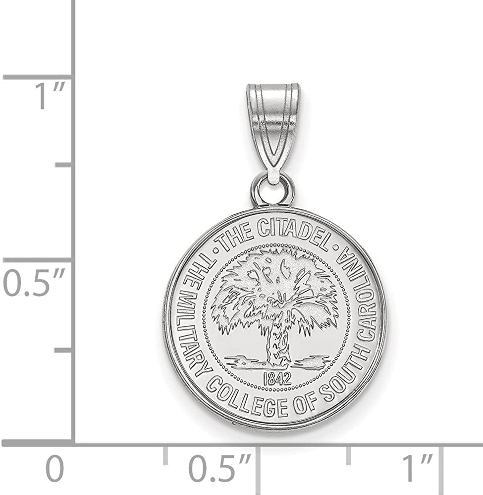 925 Sterling Silver Rhodium-plated Laser-cut The Citadel Medium Pendant