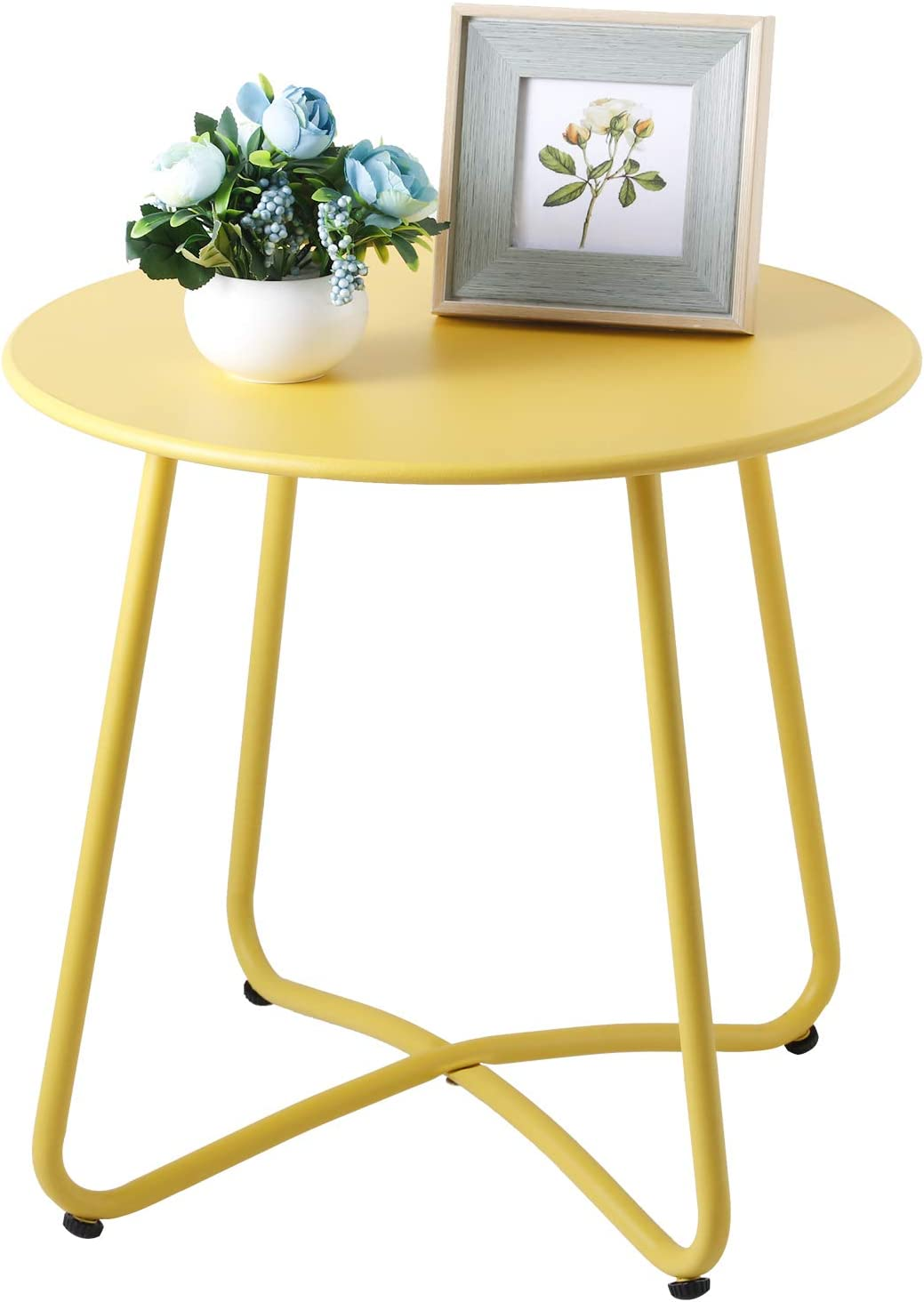 CaiFang Outdoor Metal Side Table, Waterproof End Table Small Round Patio Side Table Coffee Table for Porch, Yard, Balcony, Garden (Yellow)