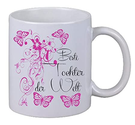 Coffee Mug With Beste Daughter Butterfly Floral Surprise Birthday Gift Amazoncouk Kitchen Home