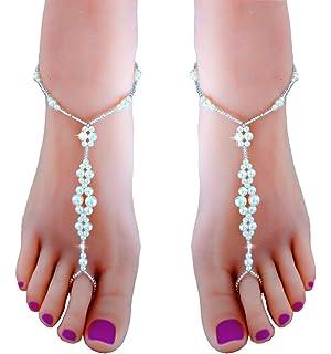JEWSUN 2 PC Wedding Barefoot Sandals Bridal Foot Jewelry