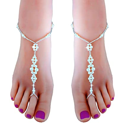 Amazoncom JEWSUN 2 PC Wedding barefoot sandals Bridal barefoot