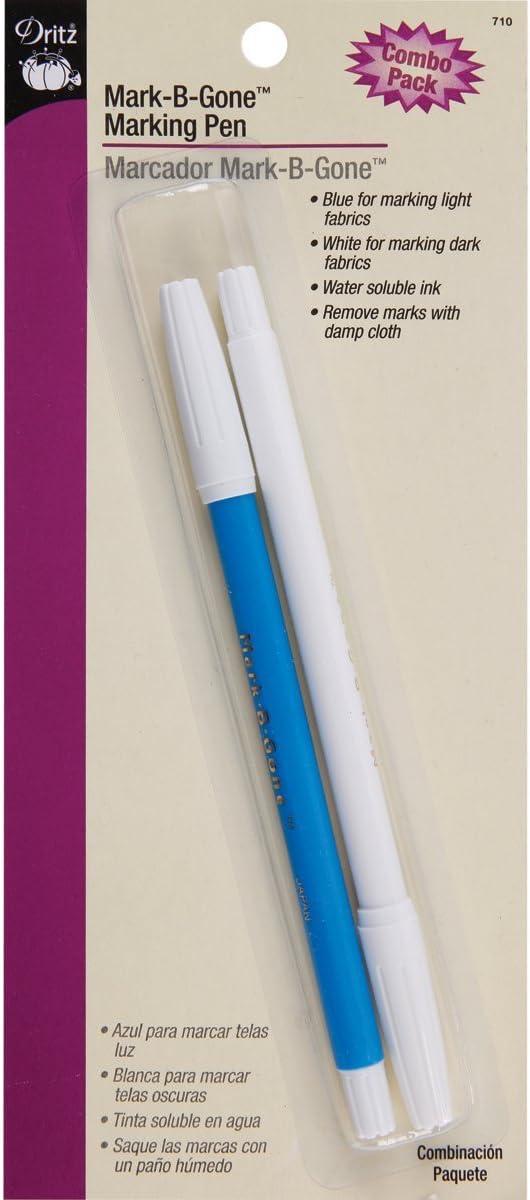 Dritz 710 Mark-B-Gone Marking Pen Combo Pack Blue /& White