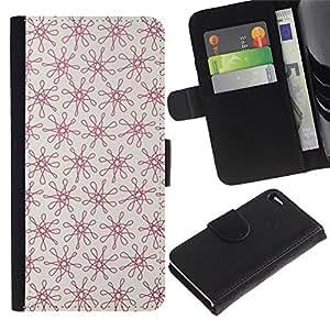 Apple iPhone 4 / iPhone 4S Modelo colorido cuero carpeta tirón caso cubierta piel Holster Funda protección - Floral Red Pattern Vintage Wallpaper Pattern