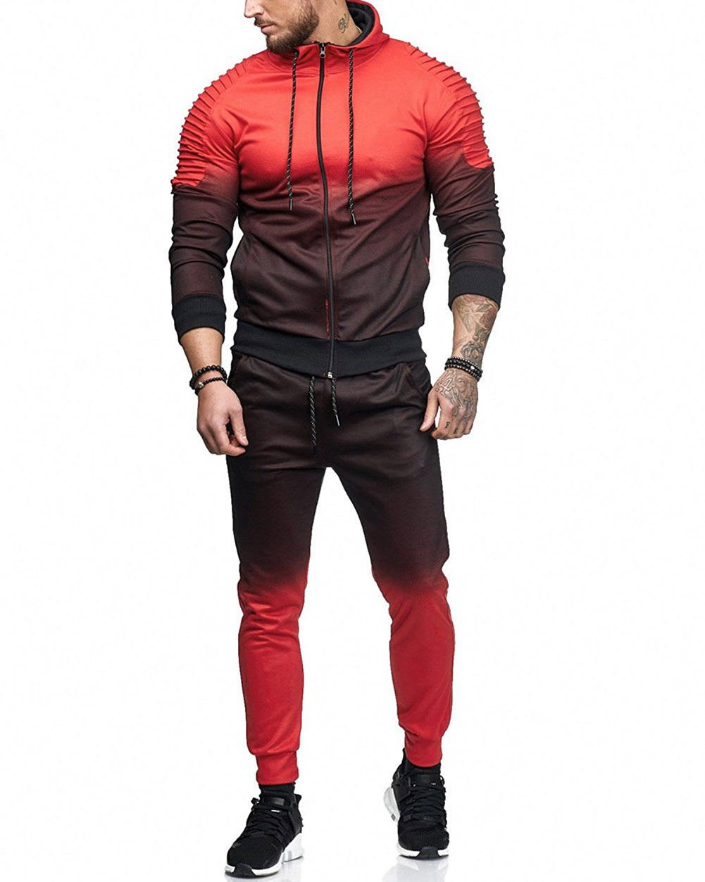 GETHIS Men's 2 Piece Casual Gradient Sport Suit Contrast Jogging Full Sweatsuit Tracksuit Outfit Zipper Hoodies Jacket Coat and Pant (Red, 3XL)