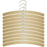 H & L Russel Children's Crescent Hanger with Silver Hook, Beech Wood, Beige, Pack of 10