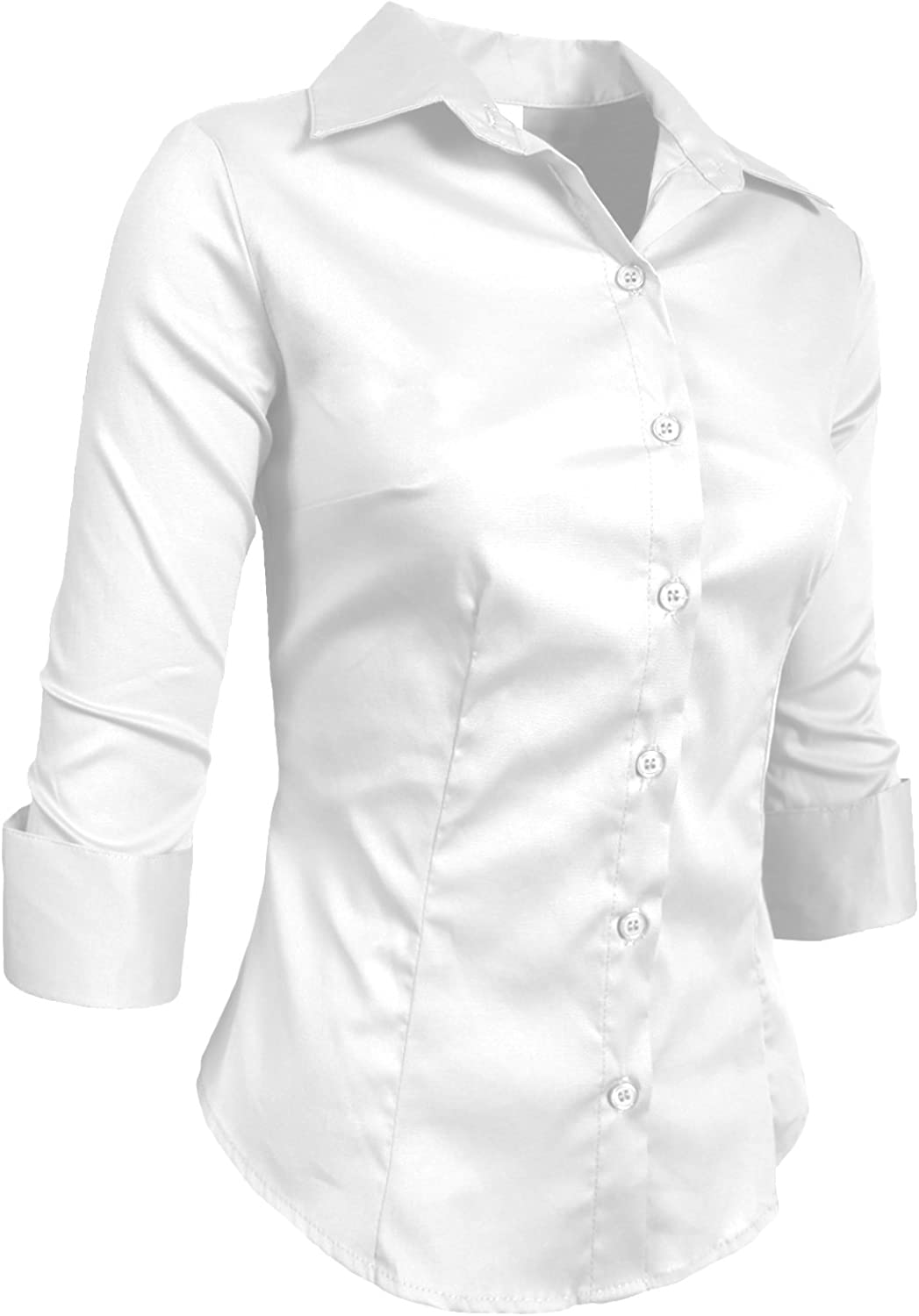 NE PEOPLE Womens Simple Stretch Slim Fit 3/4 Sleeve Roll Up Cotton Button Down Basic Solid Shirt (S-6XL): Clothing