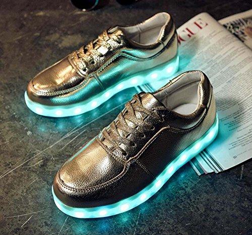 Pump Led Luminous (7 COLORES) Zapatos de Pareja USB recargable zapatos de encaje unisex Toe redonda cordones impermeables Snekers deporte casual zapatos Eu Tamaño 30-46 Gold