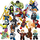 (US) 16 Super Heroes Building Blocks Action Figures - Super Hero Minifigures Set with Accessories - Bricks Action Figures Toy