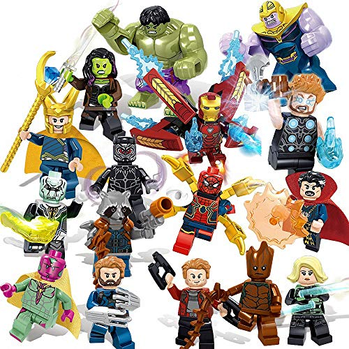 16 Pieces Minifigures Super Heroes Set with Accessories Building Blocks Action Figures Toy, Kids Gift ztoe -