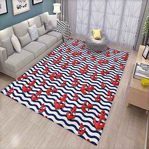 (Anchor Bath Mats for Floors Wavy Stripes with 3D Style Marine Anchors Summertime Classical Colors Door Mat Indoors Bathroom Mats Non Slip 4'x6' Vermilion Navy Blue White)