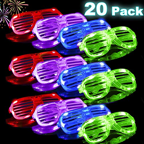 St. Patrick's Day Light Up Glasses 20 Pack LED Glasses 4 Color LED Shutter Shades Glasses Glow in The Dark Green Sunglasses Light Up Glasses Toy for Adults Kids Party Favors Neon Party Supplies