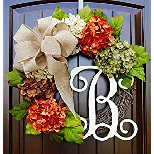 Hydrangea Wreath with Monogram Letter Option made of Orange, Green, Cream, and Brown Hydrangeas with Three Bow Options on Grapevine Base 5