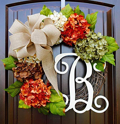 (Hydrangea Wreath with Monogram Letter Option made of Orange, Green, Cream, and Brown Hydrangeas with Three Bow Options on Grapevine Base)