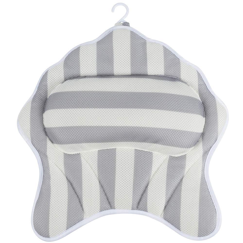 HALOViE 3D Rete Cuscino Vasca da Bagno con 6 Ventose Comfortevole e Traspitante Bath Pillow Con Gancio Cuscini Poggiatesta Vasca Antibatterico SALOVES