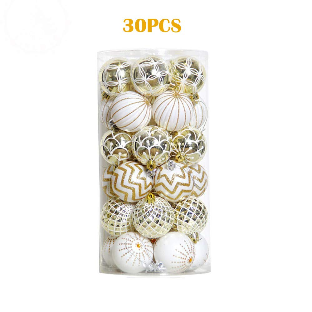 GXOK 30Pcs Christmas Balls Baubles Party Xmas Ball Tree Decorations Hanging Ornament Decor Xmas Decoration Gifts by GXOK