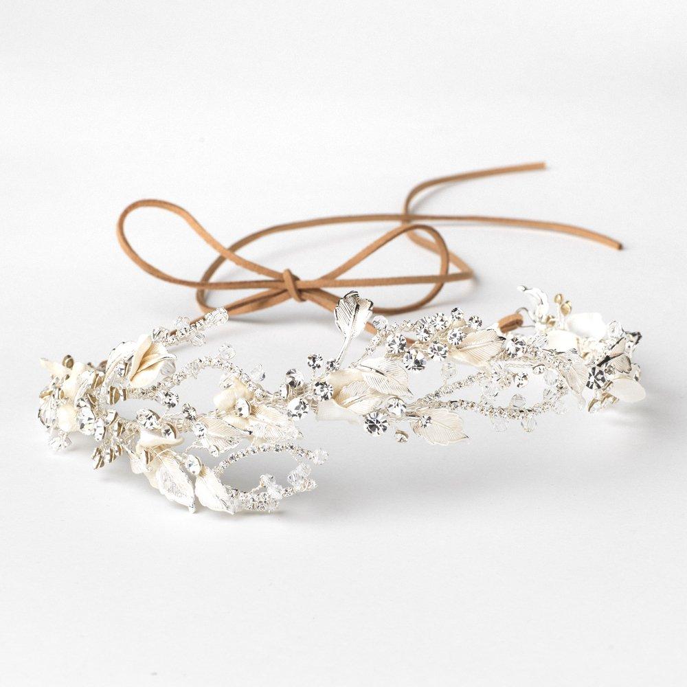 Silver Clear Rhinestone & Crystal Champagne Floral Leaf Vintage Vine Bridal Wedding Bun Wrap Headpiece